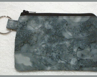 Coin Purse Keychain with Zipper Closure Handmade with Gray Batik Fabric