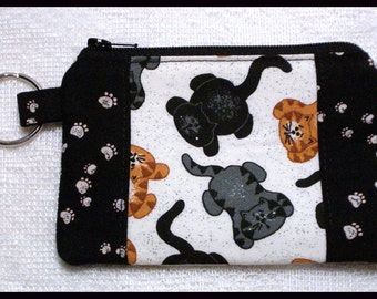 Coin Purse with Key Ring and Zipper Closure Handmade with Kittens and Kitty Cat Paws Fabric