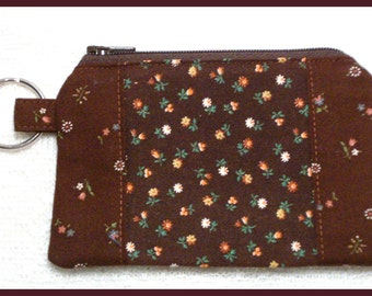 Coin Purse Keychain with Zipper Closure Handmade with Roses on Brown Fabric