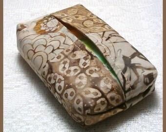 Purse Size Travel Tissue Holder Handmade with Brown Batik Fabrics