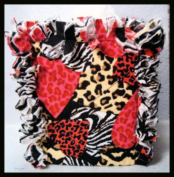 Rag Quilt Boutique Tissue Box Cover Handmade with Jungle Hearts Fabric