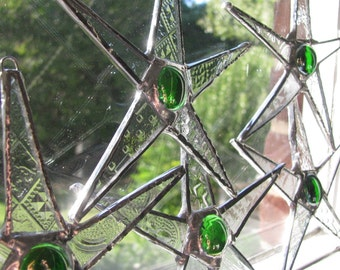 5 Stained Glass Stars- Green Cranberrys