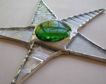 5.5 inch  Kiwi Star- patterned glass and stained glass star