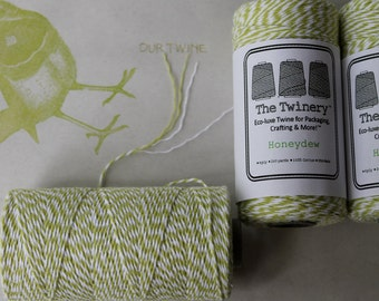 Twine - 240 yards 4ply cotton- Honeydew, lime green, 2.42 shipping