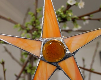 Orange Creamsicle Swirl - stained glass star 8 inches cream and tangerine colored glass