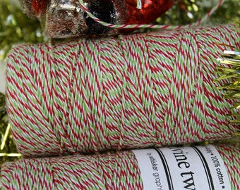 240 yards- Red, Green and White Christmas Holiday Twine 240 yards full spool, in cute wrapping too