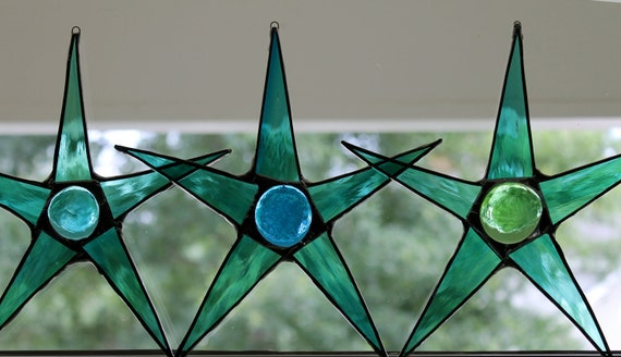 Atlantic Ocean Star in teal, tuquoise or green Stained Glass