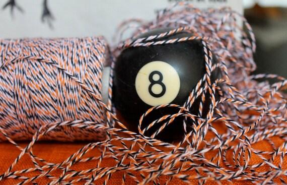Halloween Bakers Twine- 240 yards orange, black and white Divine Twine. Full spool.