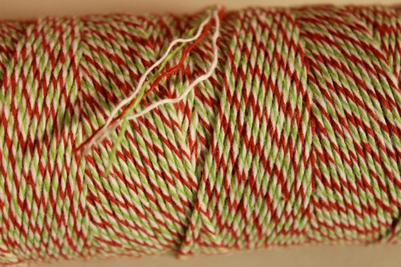 Holiday Divine Twine 10.99 for 240 yard spool- Red Green and White Christmas twine