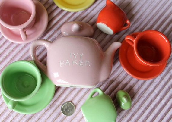 Toy Tea Set Engraved, personalized, etched name on ceramic teapot