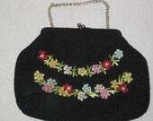 Vintage Bag  Black Handbag-Purse with Flowers