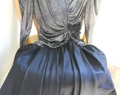 80s Prom Dress Metallic Shimmery Silver and Black Formal  9-10