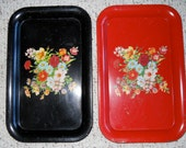 Tin Serving Trays Black and Red Bouquet of Flowers Qty 2