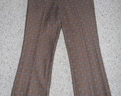 Mens Pants High Waist 70s Polyester Brown Plaid by Rappers USA 32x32 Disco Hip Hipster