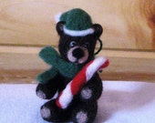Bear Christmas Ornament needle felted