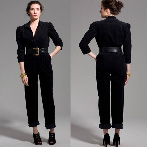 Black Corduroy 80s Pant Suit