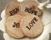 Four Engraved Wood Coasters - Peace, Love, Hope, Joy - Can Be Personalized