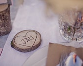Custom Initials in Heart Coasters- Set of 4 - Made From a Fallen Tree