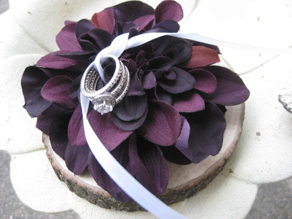 Ring Pillow- Natural Wood With Deep Purple Dahlia