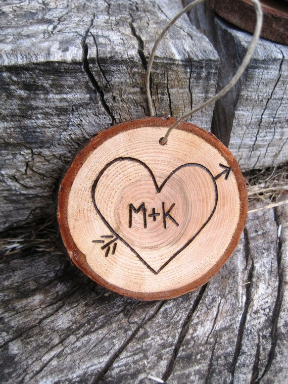 First Christmas Ornament - Couple- Mr and Mrs - Initials in a Heart Christmas Ornament - Married
