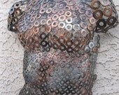 Copper silver bronze Metal Wall art sculpture abstract male torso by Holly Lentz