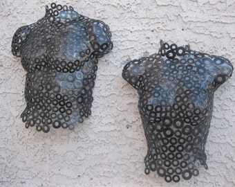 Abstract Metal Wall art sculpture Torso Nude by Holly Lentz