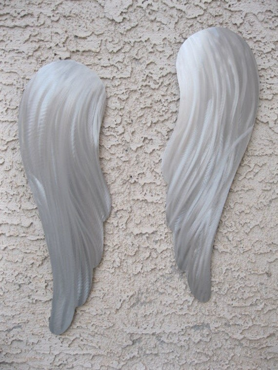 Silver Angel Wings Metal Wall Art Sculpture by Holly Lentz