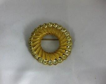 Vintage 1960's BSK Florentine Gold Tone Finish Brooch
