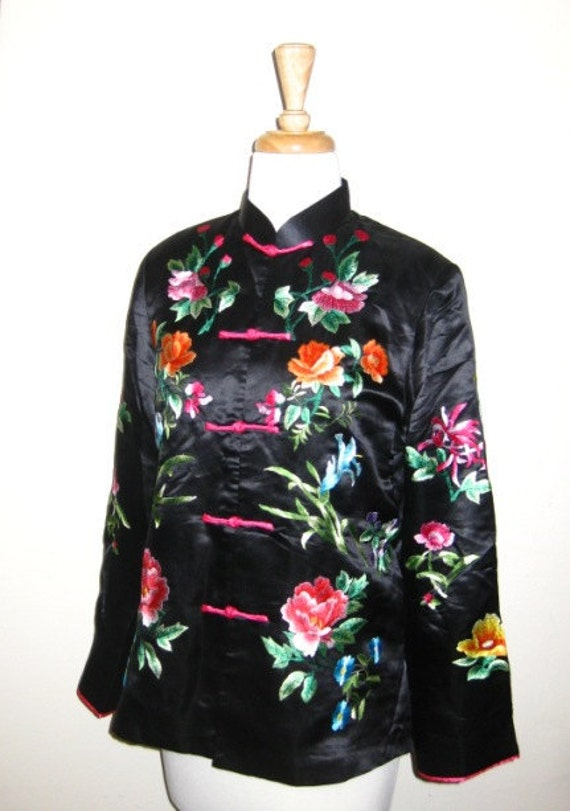 On Sale  Chinese Black Silk Floral Embroidered Jacket