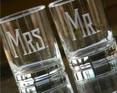 """Set of 2 MR and MRS Beverage """"On the Rocks"""" Tumblers."""