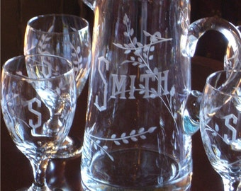 Housewarming-Hostess-Wedding-Thank you Gift 7 pc Tankard Pitcher and Glasses Beverage Set Custom Engraved