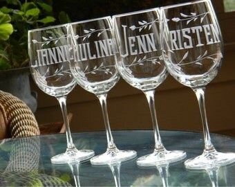 Bridesmaid Wine Glasses Personalized with Name on each - Set of 4