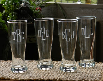 Set of 6 Monogrammed 20oz Personalized Beer Pilsner Glasses  Hand Engraved with initials