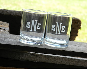 Personalized Groomsman Barware Gift - 8 Sets of Two Double Old Fashioned Glasses