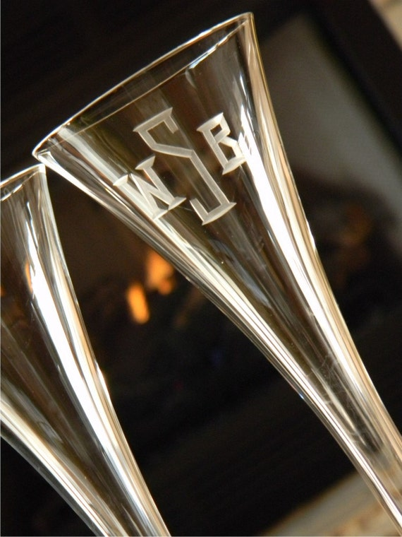 Hollow stem crystal champagne flutes with custom by glassgirljen - Champagne flutes hollow stem ...