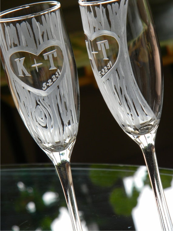 Champagne Glasses with Hand Carved Tree and Heart Design with Custom Initials, Set of 2