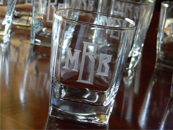 Sterling Square On the Rocks Bar Glasses Engraved with Monogram, set of 4