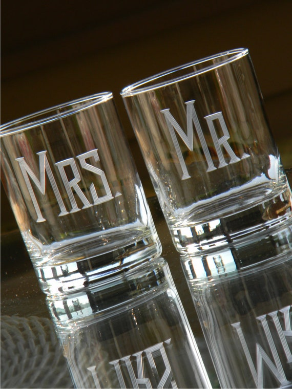 "Set of 2 MR and MRS Beverage ""On the Rocks"" Tumblers."
