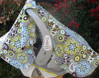 Baby Car Seat Canopy - Baby Car Seat Cover - Grey Car Seat Canopy - Teal Car Seat Canopy - Yellow Car Seat Canopy - Baby Shower Gift