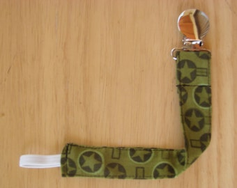 Pacifier Clip - Universal Clip for Boy's Pacifier/Binky/Soothie Military