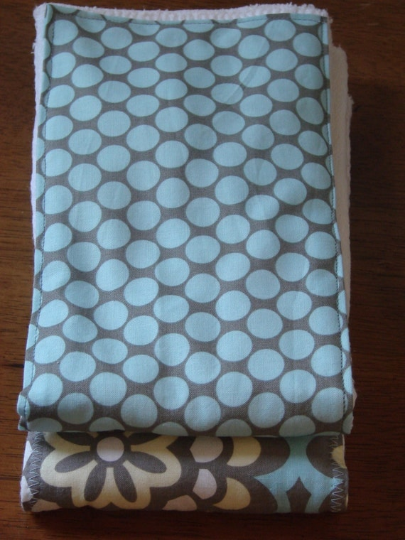 Burp Cloth Set Blue Lotus Flower and Dots