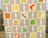 PDF PATTERN, Dots 'n Boxes Baby Crib Twin Quilt or Wall Hanging