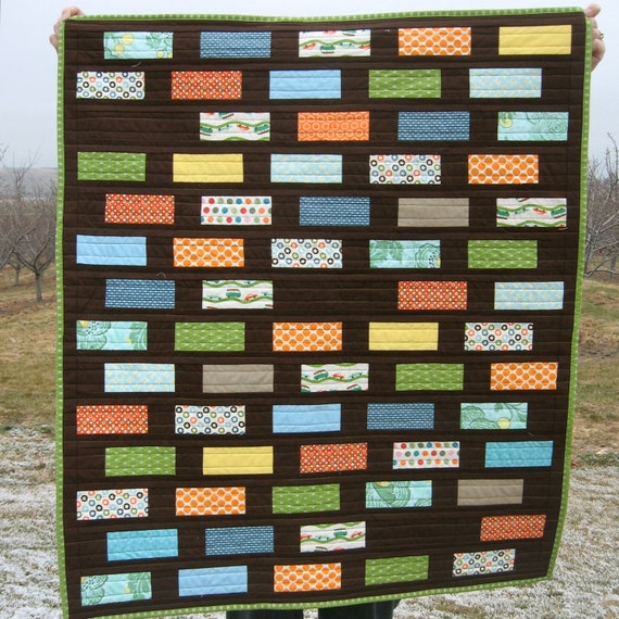 PDF PATTERN, Off Sides Rectangle Tile Baby Crib Quilt
