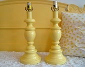 Upcycled Lamps No. 28  Pair of Vintage Wood Brass Lamps Painted Butter Yellow