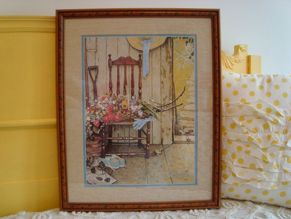 On SALE... Vintage Norman Rockwell Spring Flowers Print Robin Visiting a Gardening Room Matted and Framed McCalls Cover Spring 1969