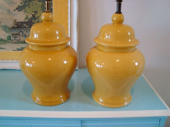 Reserved for Molly....Vintage Mustard Yellow Gold Ginger Jar Ceramic Lamp Pair
