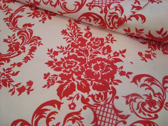 Two Huge Panels Vintage Damask Wallpaper Print Curtain Panels Drapes Red Roses Textured Fabric Lined