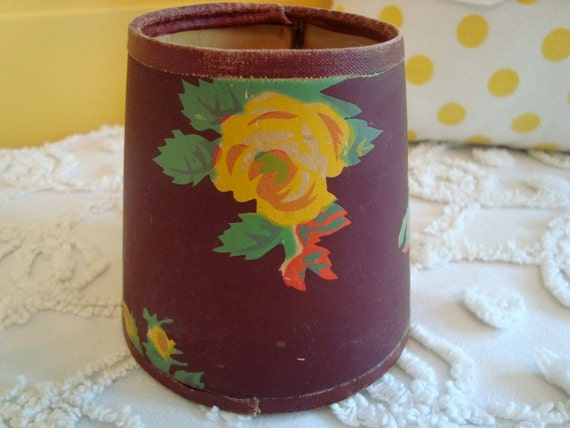 Original Vintage Wallpaper Chandelier Shade Gorgeous Yellow Cabbage Roses