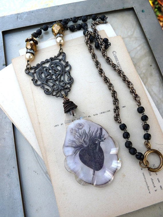 Ex Voto Sacred Heart Rosary Necklace, Victorian Tribal Assemblage Wearable Altar for the Passionate, by Rustic Gypsy