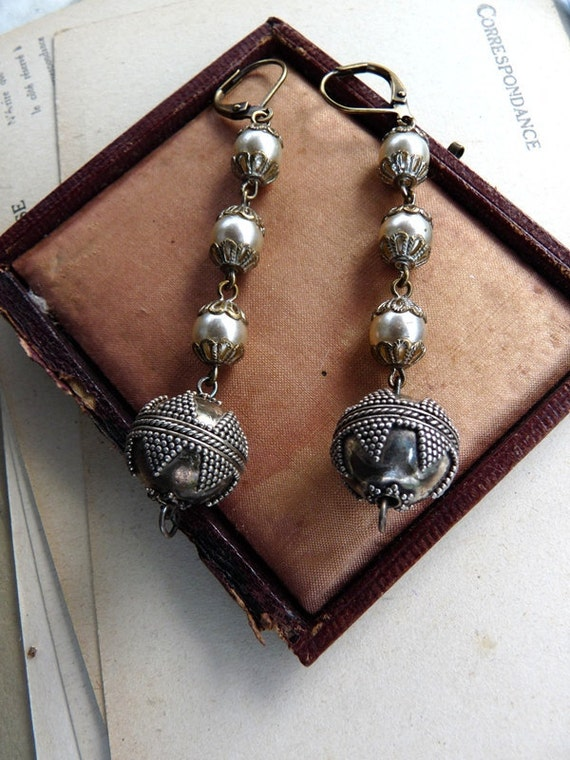 Vintage Assemblage Rosary Earrings, Lovely Pearls and Sterling Silver, by RusticGypsyCreations